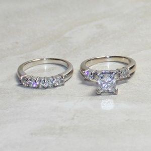 Princess Cut Diamond Ring Set Total Carats 2.13